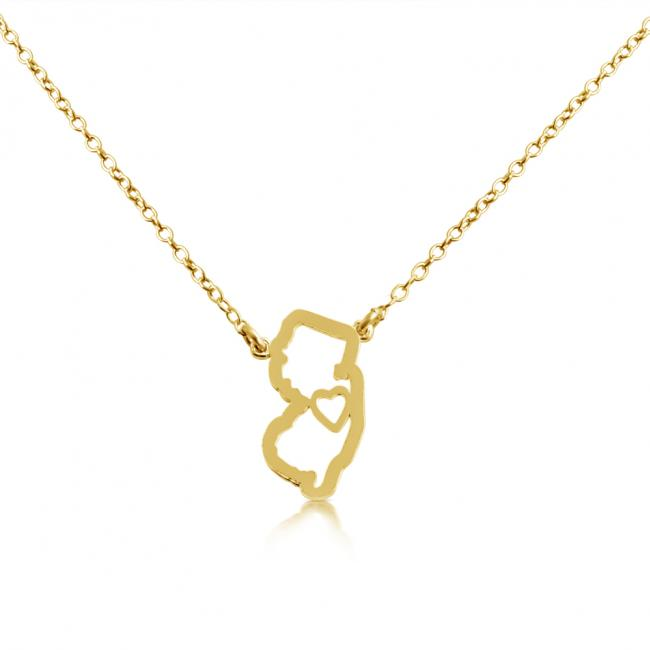 Gold plated necklace New Jersey Home is Where The Heart Is State Necklace