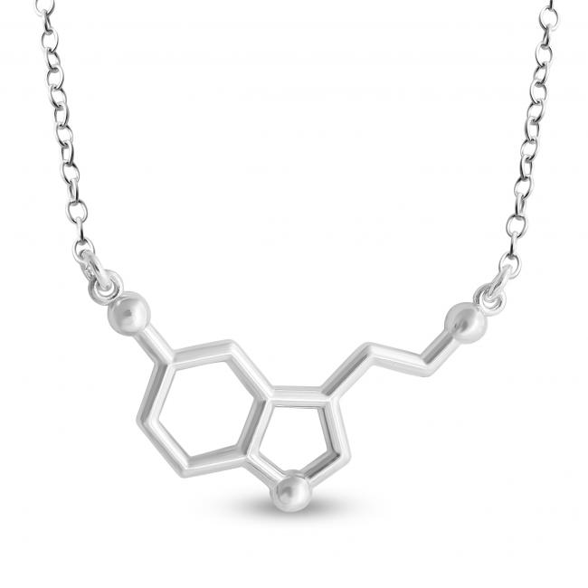 925 sterling silver necklace Serotonin Molecule Happy Hormone Chemical Structure