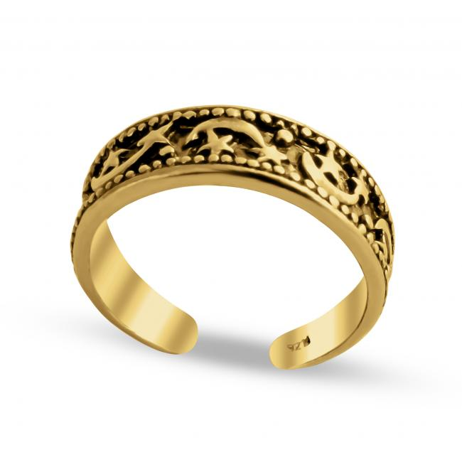Gold plated ring Moon + Stars Adjustable Toe Ring