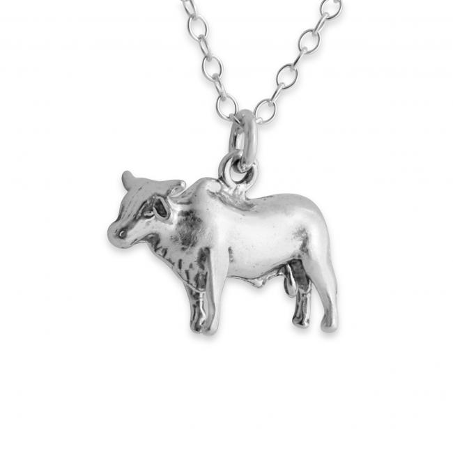 925 sterling silver necklace Solid 3D Bull Ox Taurus Zodiac Sign Corrida Country