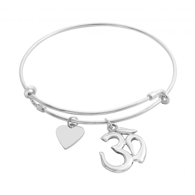 925 sterling silver bracelet Spiritual Om / Ohm Mantra Adjustable Wire Bangle
