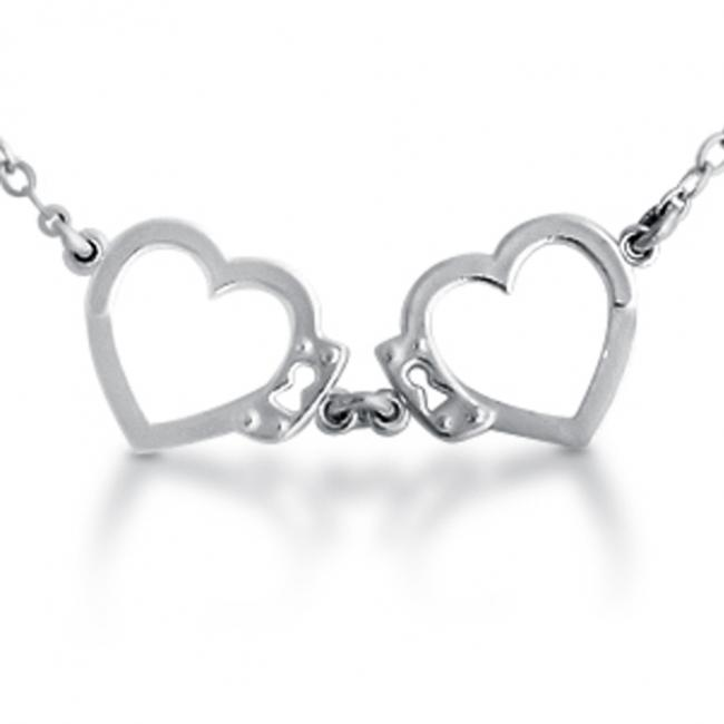 925 sterling silver necklace Open Heart Shaped Love Handcuffs