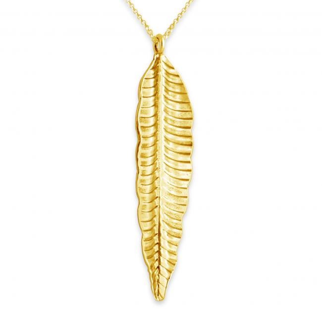 Gold plated necklace Feather