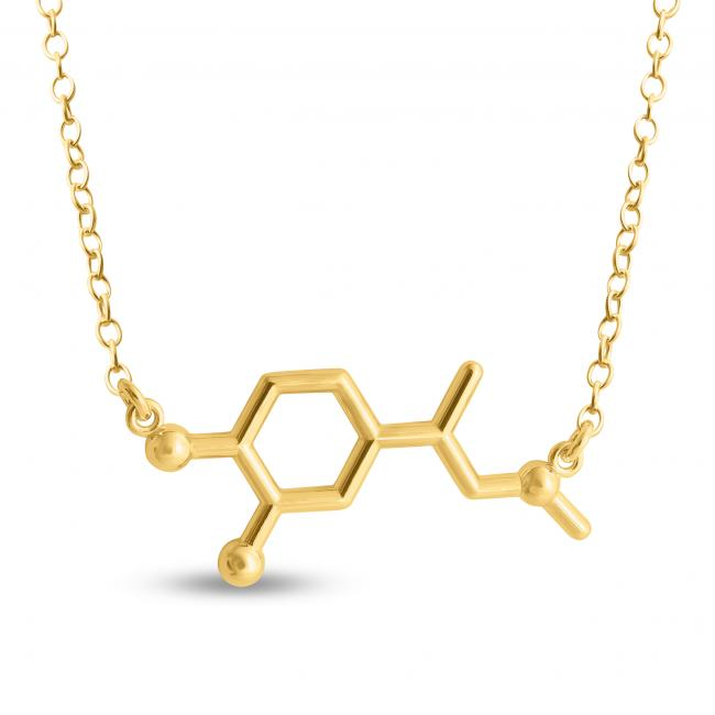 Gold plated necklace Adrenaline Molecule Fight or Flight Hormone Chemical Structure