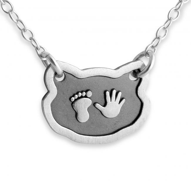 925 sterling silver necklace Baby Foot & Hand Print