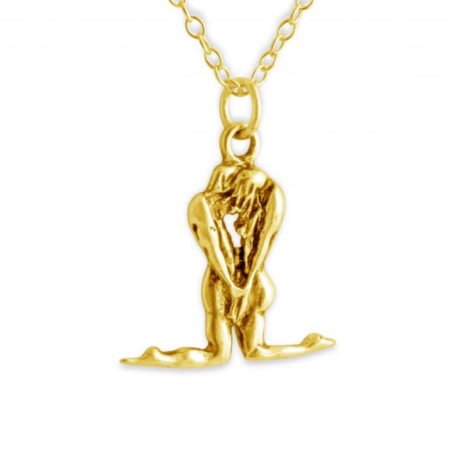 Gold plated necklace Man and Woman Hand in Hand Loving Couple Romantic