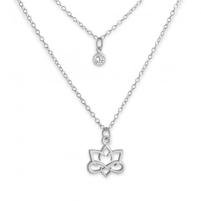 925 sterling silver necklace Outlined Small Lotus Flower and CZ w/ Double Chain