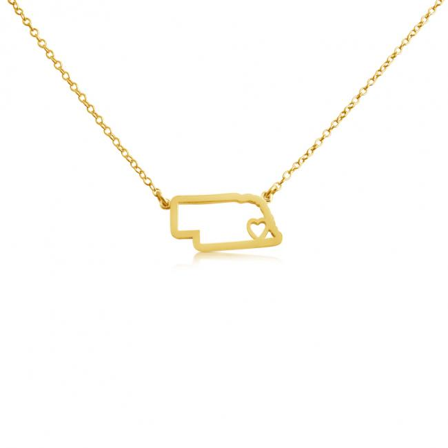 Gold plated necklace Nebraska Home is Where The Heart Is State Necklace