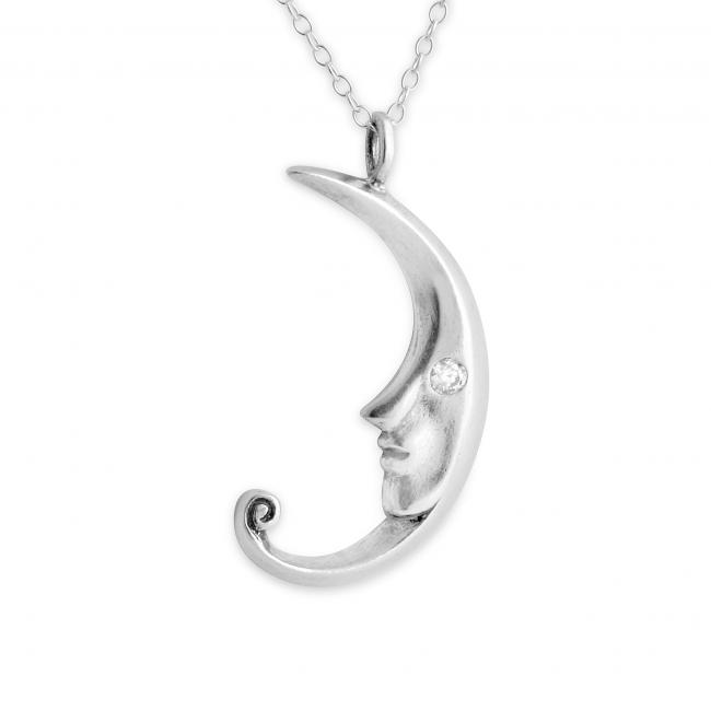 925 sterling silver necklace Crescent Moon Face w/ CZ Eye