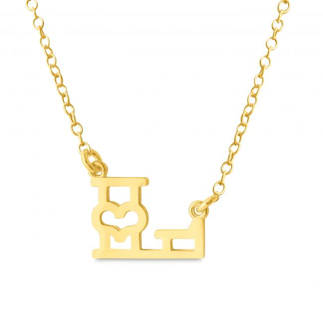 Gold plated necklace Initial Letter L with Heart Sideways