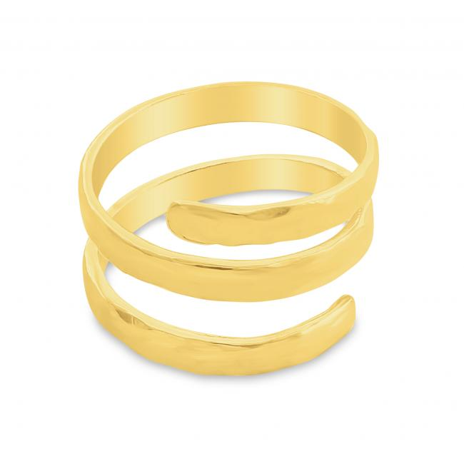 Gold plated ring Hammered Spiral Wrap Ring