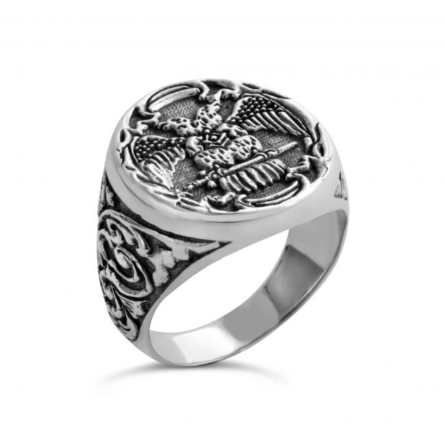 925 sterling silver ring Double Headed Eagle Freemason