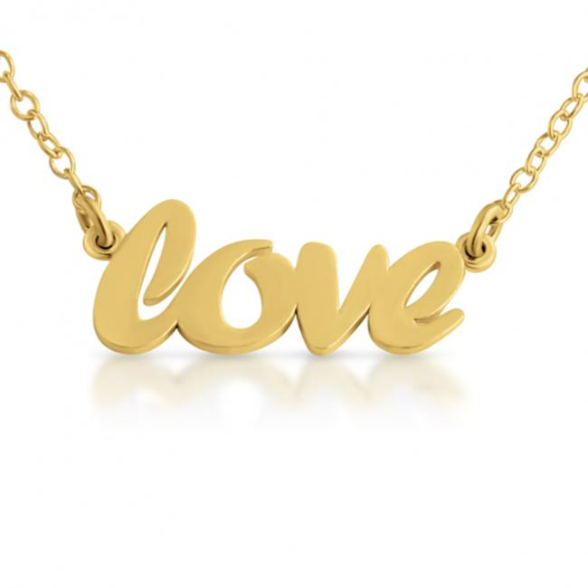 Gold plated necklace LOVE (Script Word)