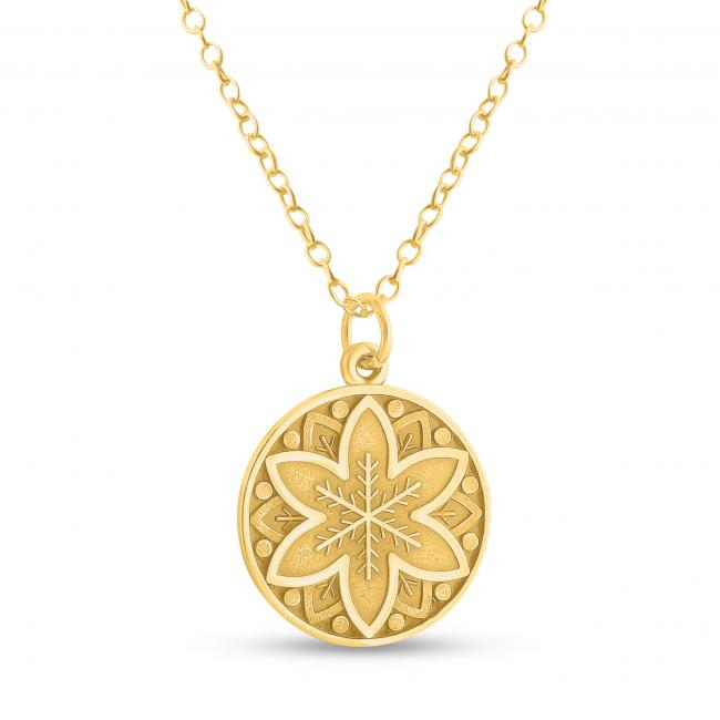 Gold plated necklace Mandala Flower and Snowflake Coin Sacred Path Spiritual Jorney