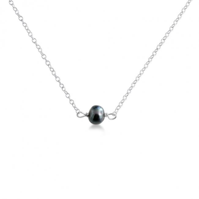 925 sterling silver necklace Black Pearl