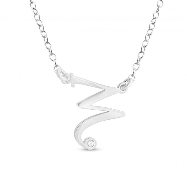 925 sterling silver necklace Initial Script Letter W with CZ Sideways