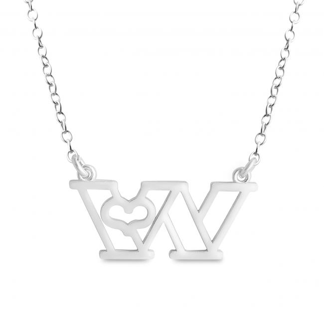 925 sterling silver necklace Initial Letter W with Heart Sideways