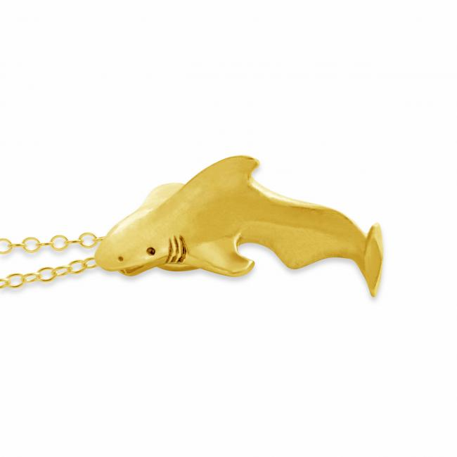 Gold plated necklace Swimming Great White Shark Sea Ocean Predator