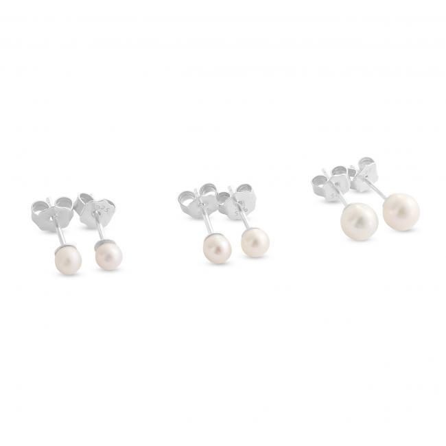 925 sterling silver earrings Fresh Water Pearl Stud 3.5mm