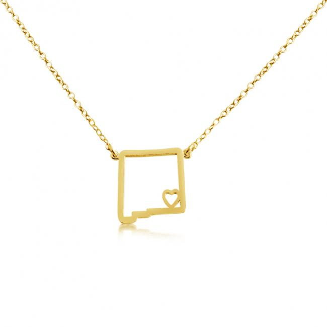 Gold plated necklace New Mexico Home is Where The Heart Is State Necklace