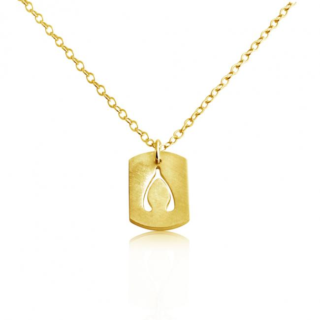 Gold plated necklace Wishbone Dog Tag