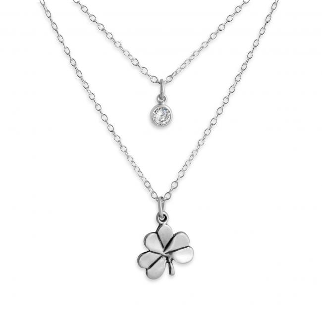 925 sterling silver necklace Shamrock and CZ w/ Double Chain