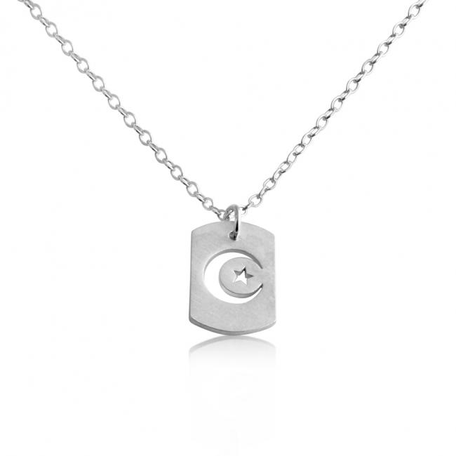 925 sterling silver necklace Moon & Star Dog Tag