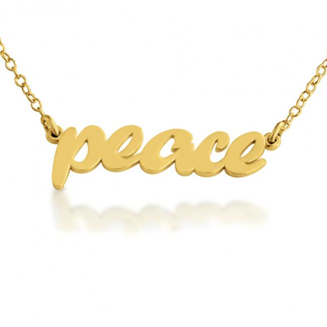 Gold plated necklace PEACE (Script Word)