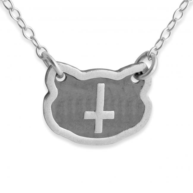 925 sterling silver necklace Feline Inverted Cross