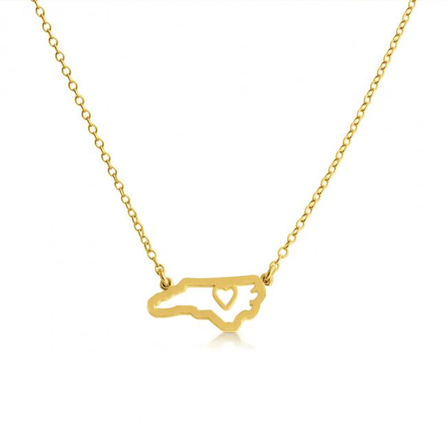Gold plated necklace North Carolina Home is Where The Heart Is State Necklace