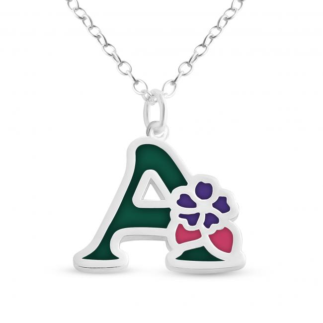 925 sterling silver necklace Colored Initial Letter A with Flower