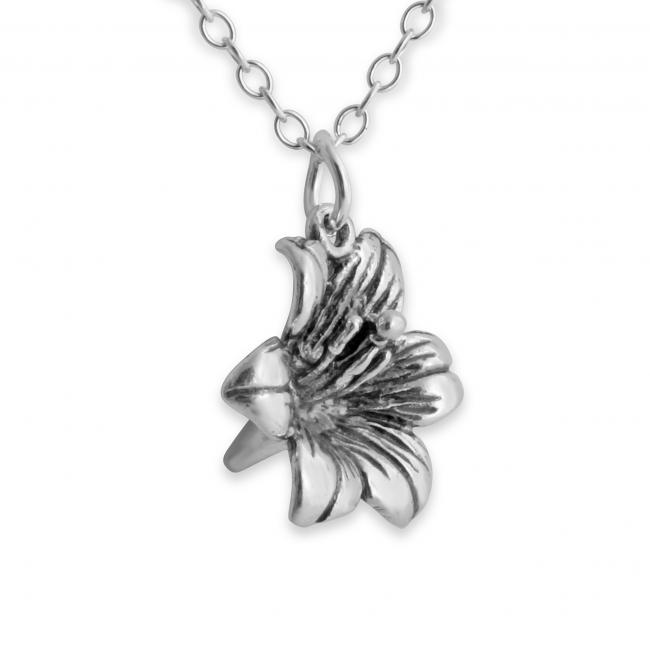 925 sterling silver necklace 3D Lily Flower Floral