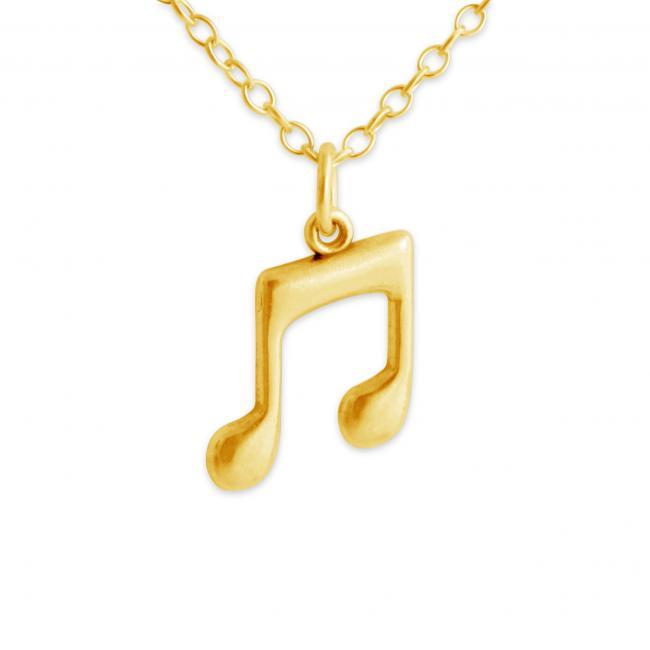 Gold plated necklace Musical Note