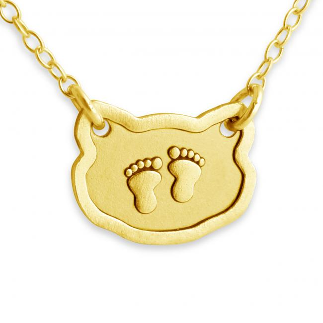 Gold plated necklace Baby Foot Prints