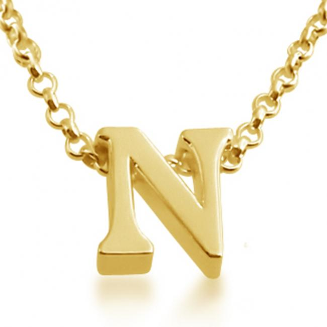 Gold plated necklace Initial Letter N Personalized Symbols & Letters Serif Font