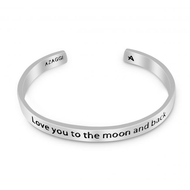 925 sterling silver bracelet Brass/ Rhodium Love You to the Moon and Back Inspirational Cuff Bracelet