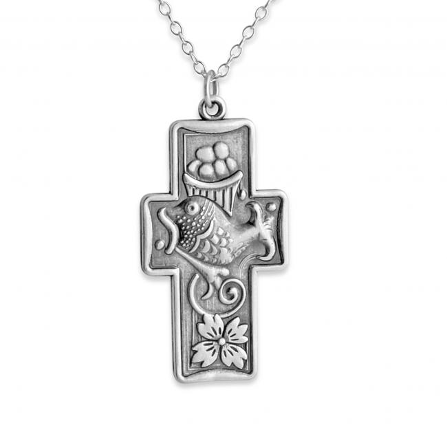 925 sterling silver necklace Fish + Bread Miracle Cross
