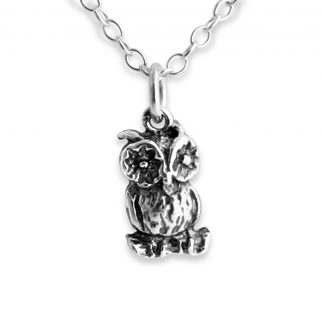 925 sterling silver necklace Old Owl