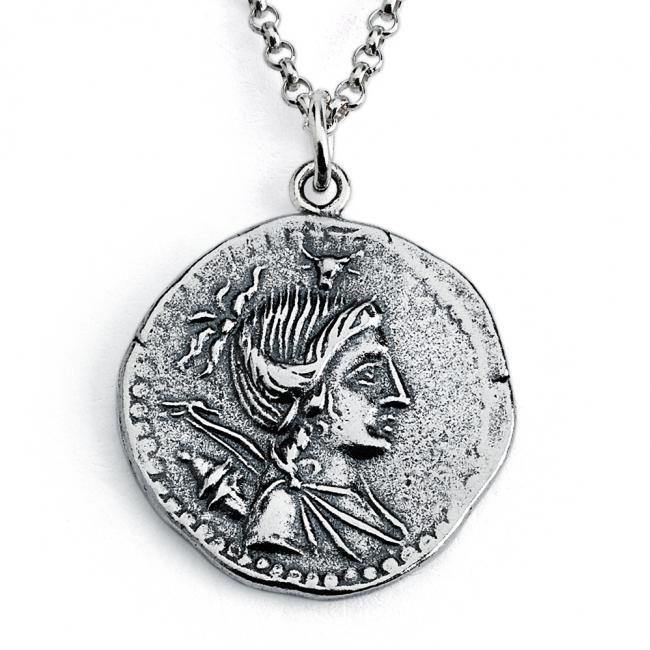 925 sterling silver necklace Replica A. Postumius Albinus Ancient Roman COIN
