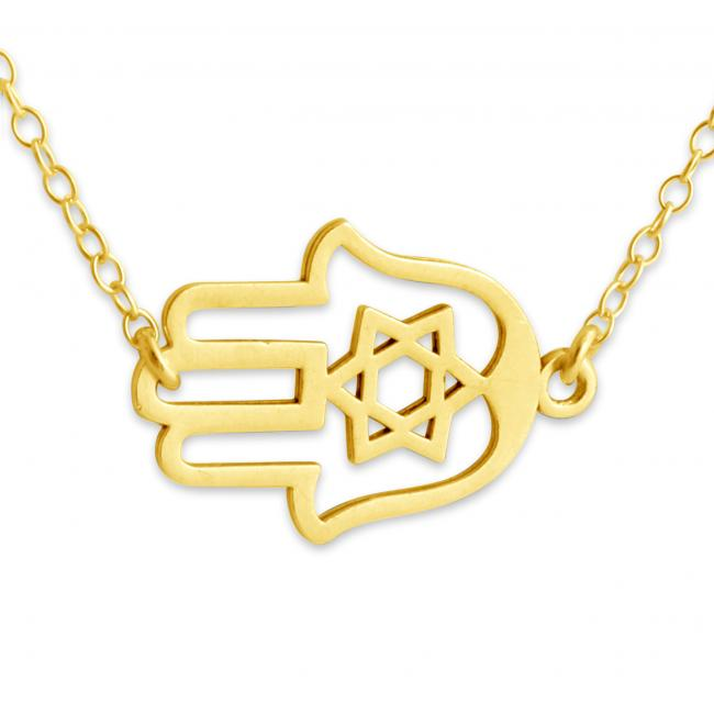 Gold plated necklace Judaica Hamsa Hand Jump Ring Necklace