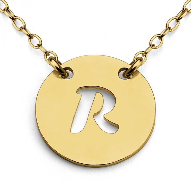 Gold plated necklace R Open Letter