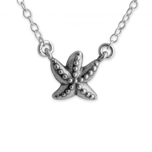 925 sterling silver necklace 3D Starfish