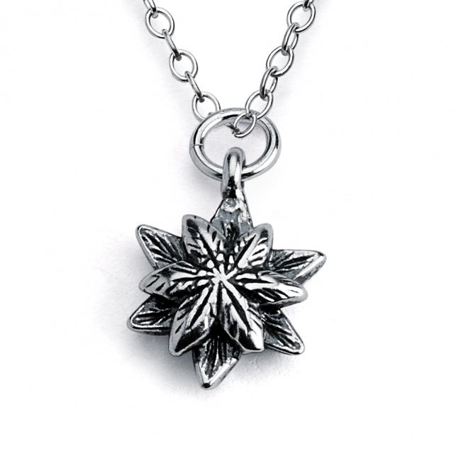 925 sterling silver necklace Star Flower Double Sided