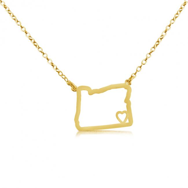 Gold plated necklace Oregon Home is Where The Heart Is State Necklace