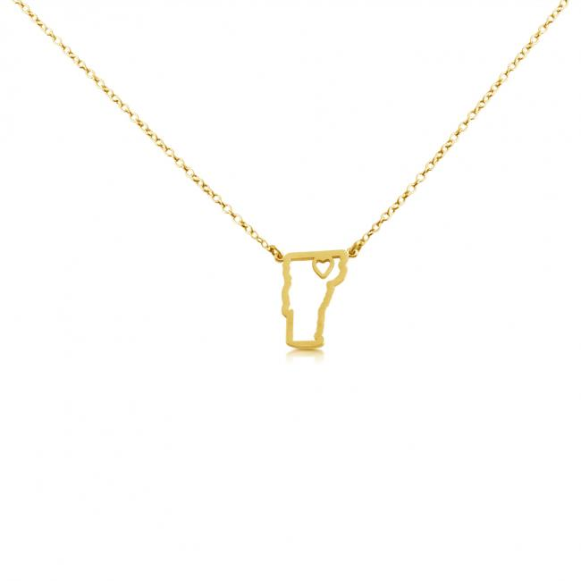 Gold plated necklace Vermont Home is Where The Heart Is State Necklace