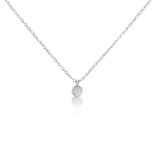 925 sterling silver necklace Tiny Textured Coin Disc