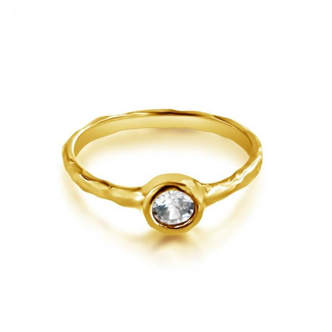 Gold plated ring Textured CZ Ring
