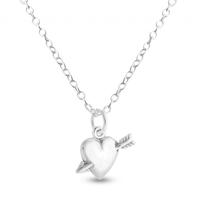 925 sterling silver necklace Solid Heart and Cupid's Arrow