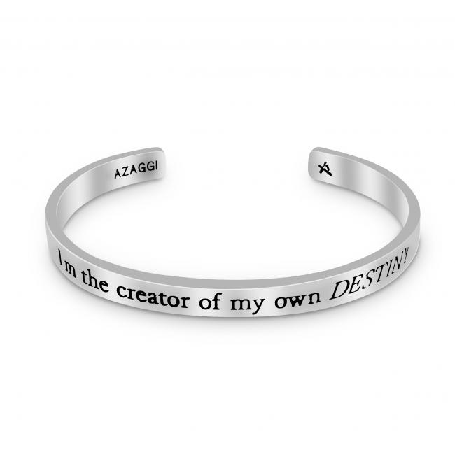 925 sterling silver bracelet Brass/ Rhodium I'm the Creator of My Own Destiny Inspirational Cuff Bracelet