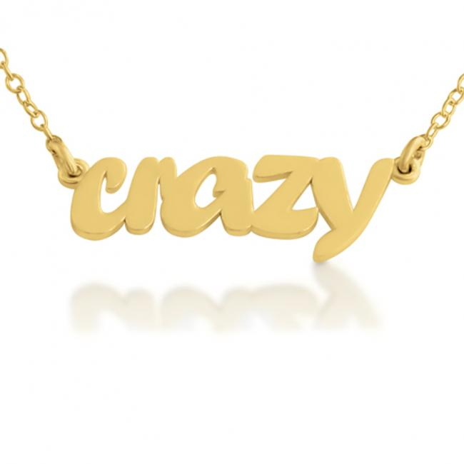 Gold plated necklace CRAZY (Script Word)